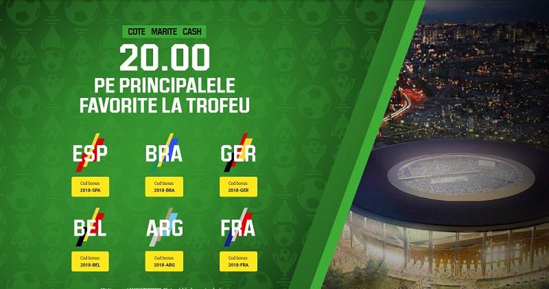 Doar aici Brazilia și Germania au cota 20.00 să câștige Cupa Mondială! Ofertă limitată!